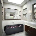 Сочетание коричневого с белым в ванной