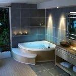 Роскошная ванная комната в коричневом цвете