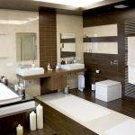 Большая ванная комната с комбинированной плиткой