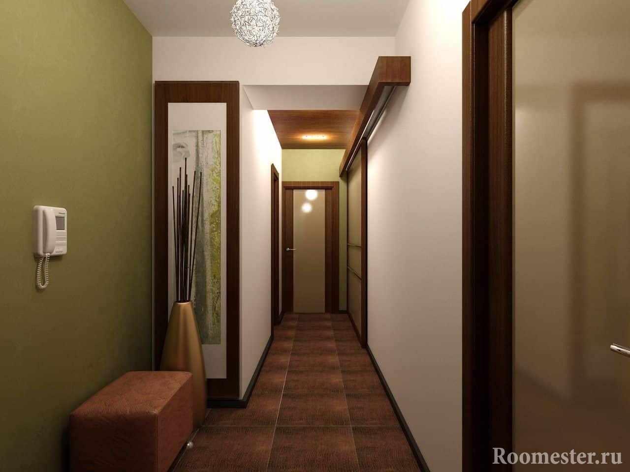 Плитка в отделке длинного коридора
