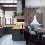 Разные напольные покрытия в кухонной и столовой зонах
