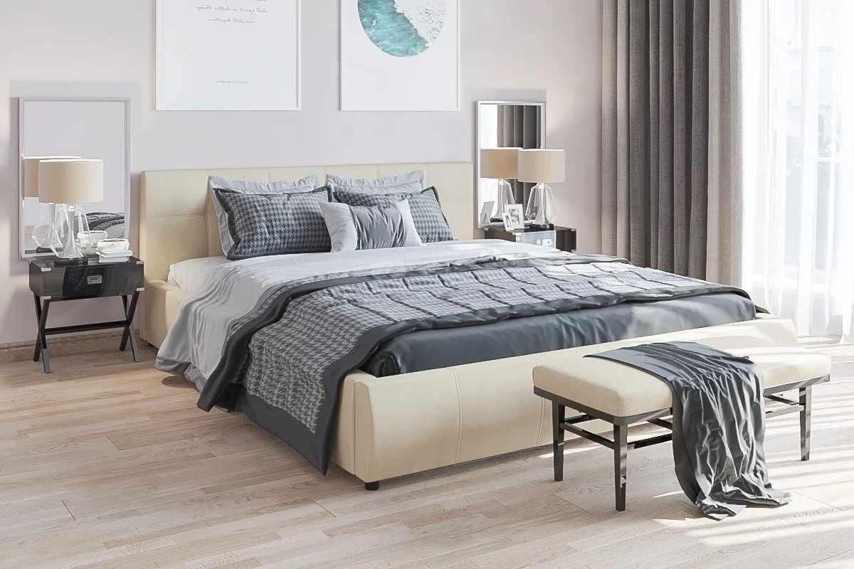 Прямоугольная кровать в интерьере