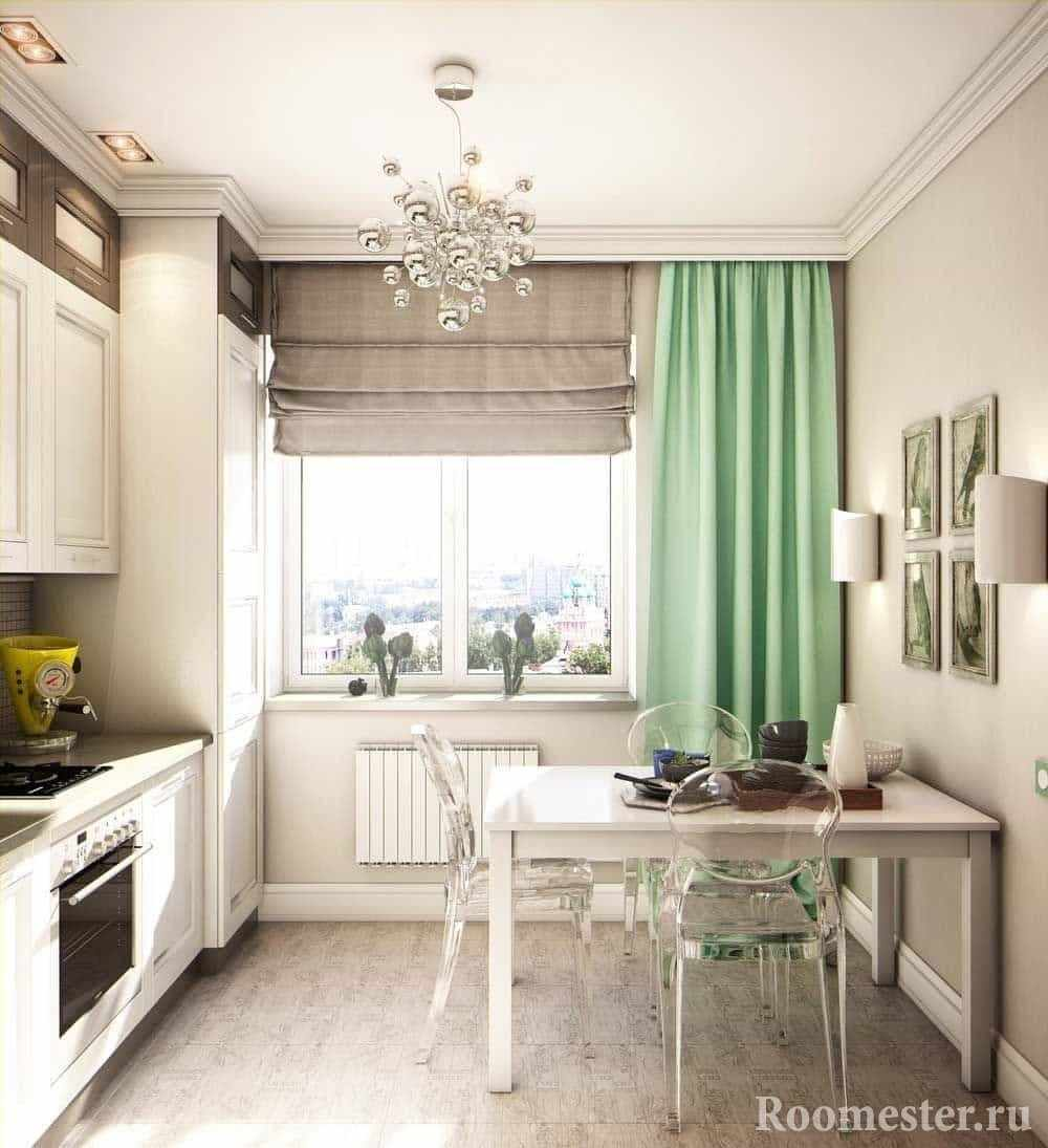 Бежевая кухня с зелеными шторами