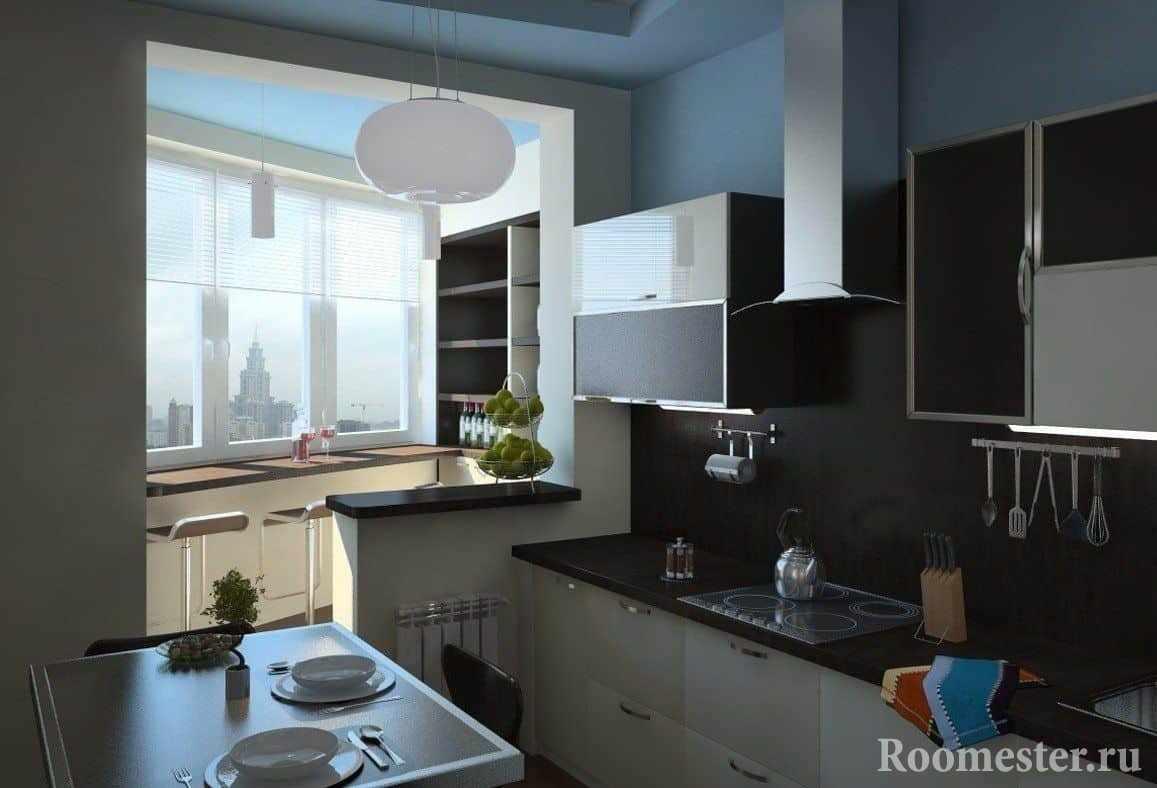 Кухня объединенная с балконом