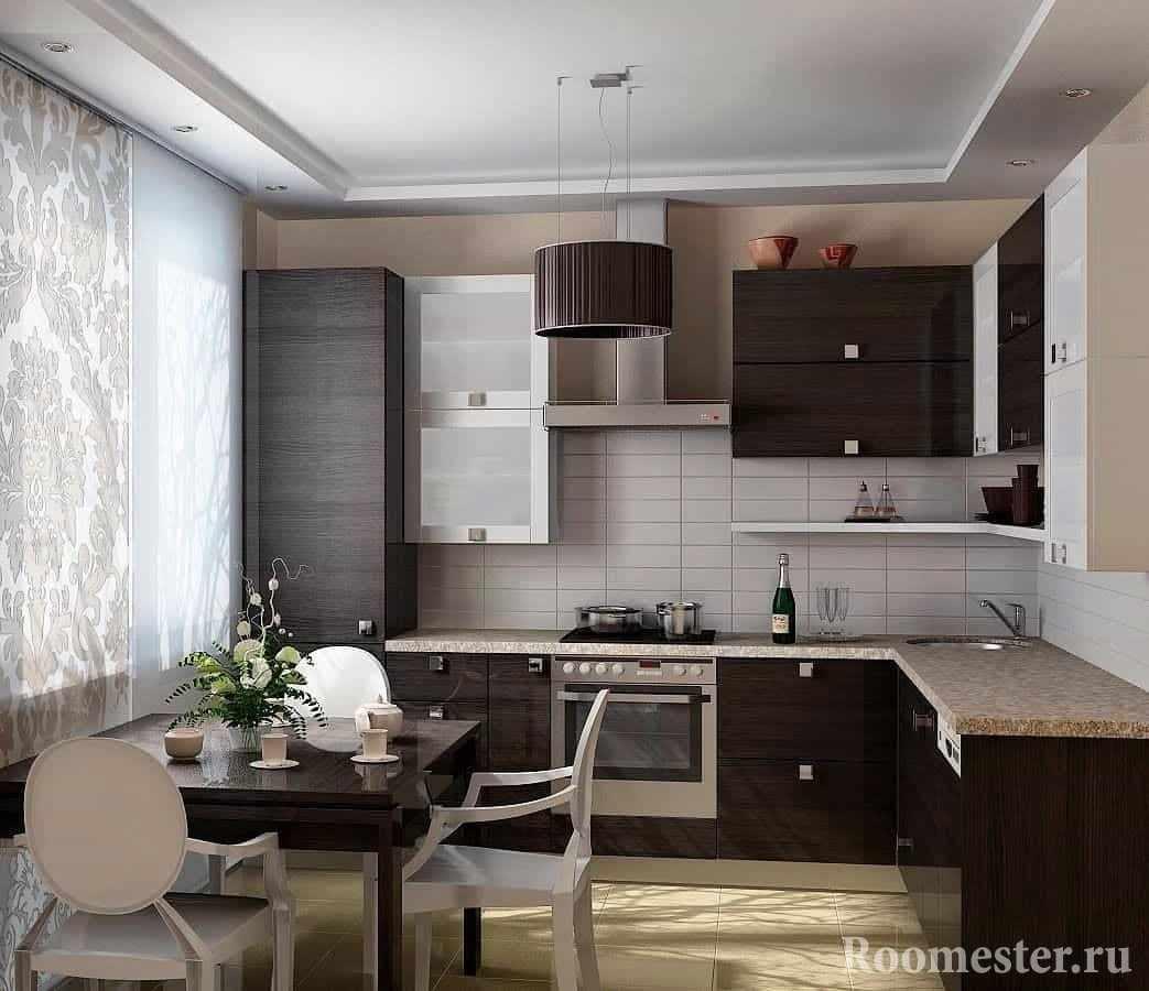 Угловая кухня цвета венге