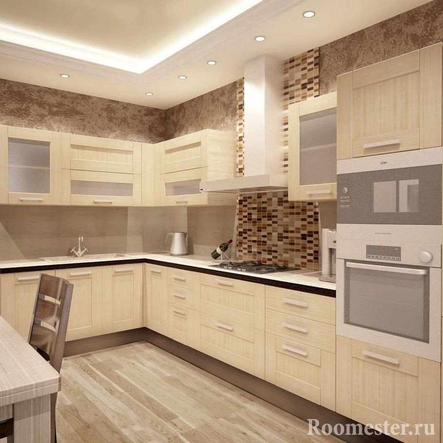 Дизайн кухни в коричневом цвете