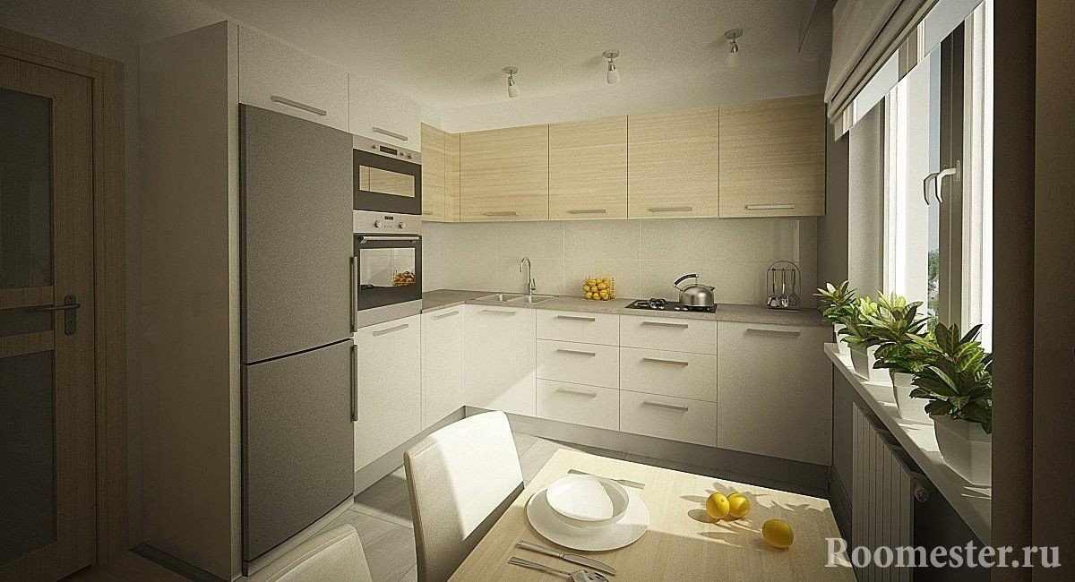 Угловая кухня с обеденным столом у окна