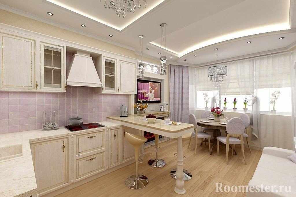 Кухня с эркером в классическом стиле