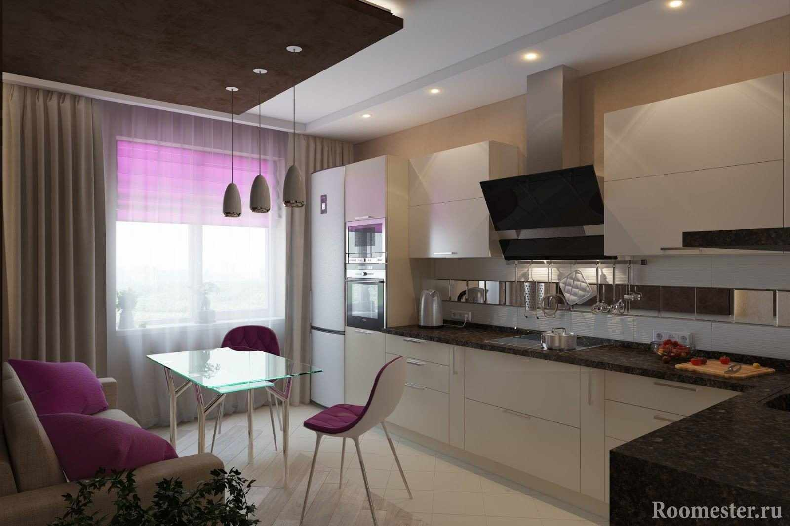 Белая кухня с сиреневыми элементами декора