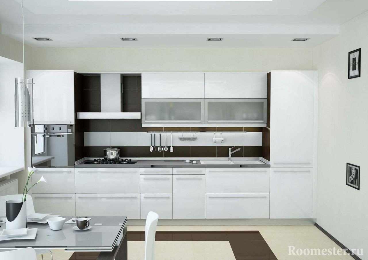 Компактная кухня в белом цвете