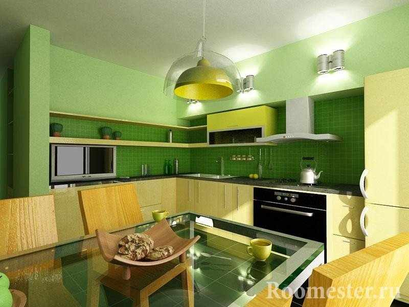 Салатово-лимонная кухня