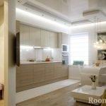 Кухня-гостиная с белой мебелью