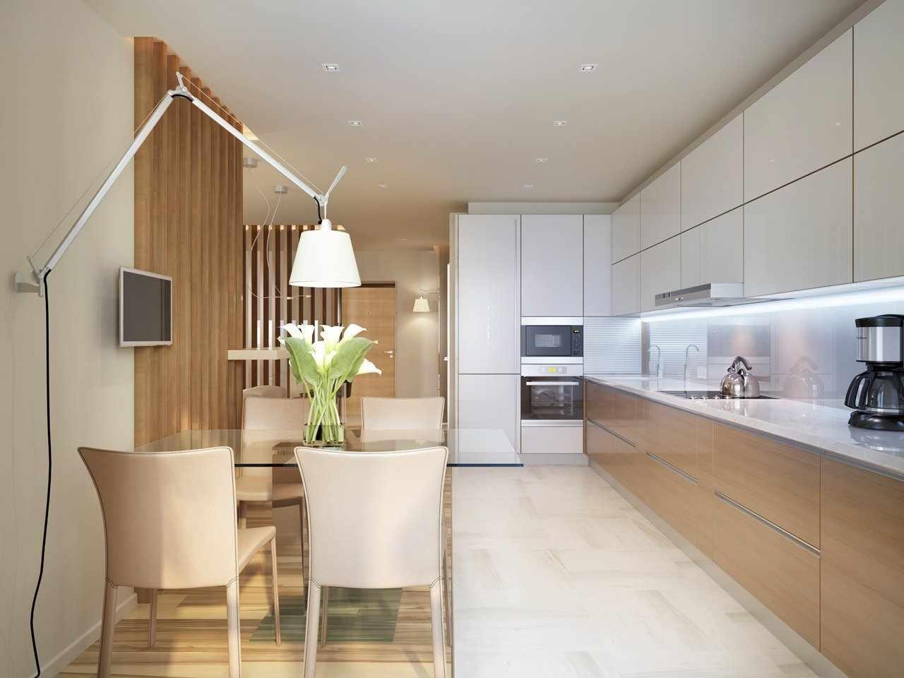 Линейная планировка на кухне 16 кв м