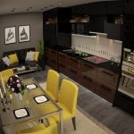 Темная кухня с желтыми акцентами
