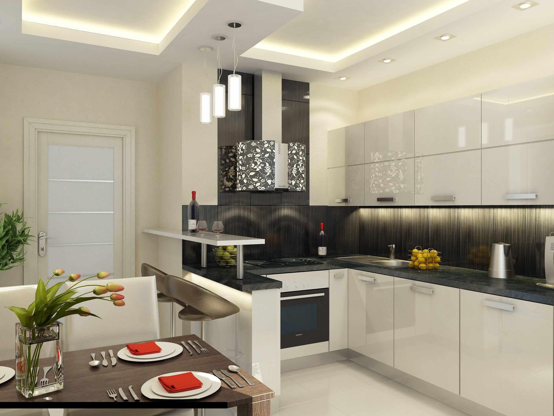 Светлый интерьер кухни 16 кв м с барной стойкой