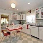 Дизайн кухни белый с красным
