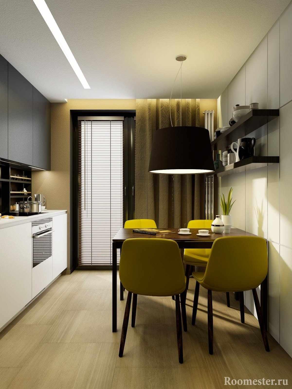 Желтые стулья на кухне