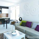 Диван с цветными подушками в гостиной