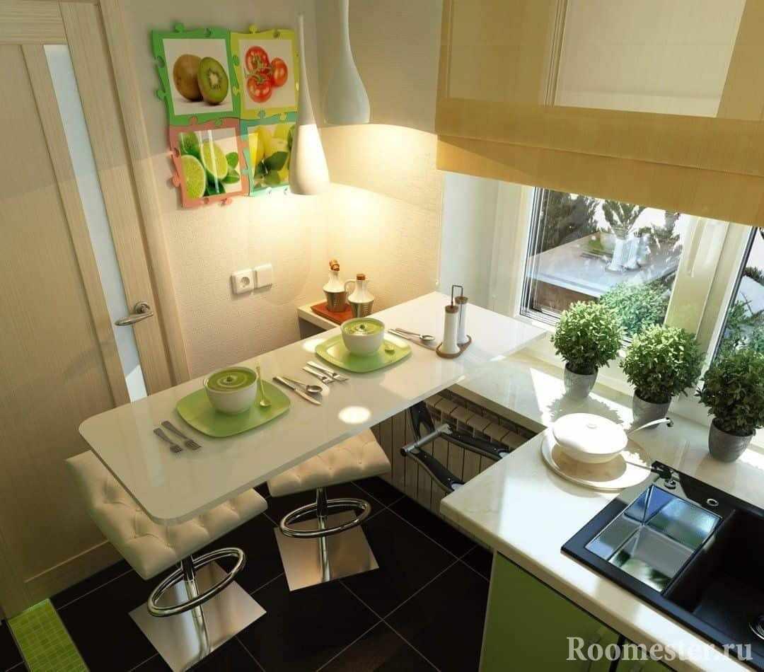 Стол без ножек, удобное решение для маленькой кухни