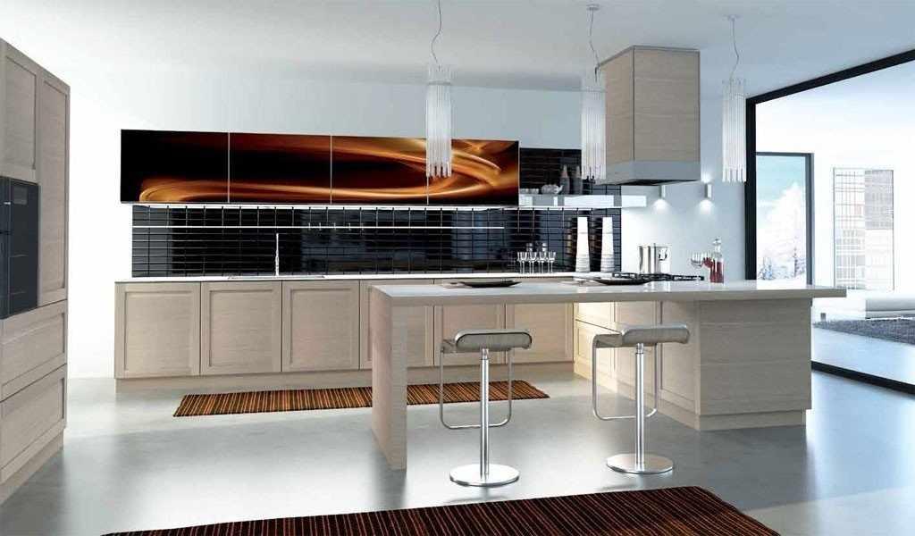 Светлая мебель на кухне в стиле модерн