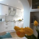 Белая глянцевая мебель на кухне