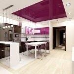 Натяжной потолок на кухне