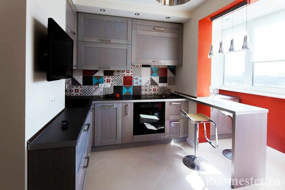 Идея интерьера маленькой кухни