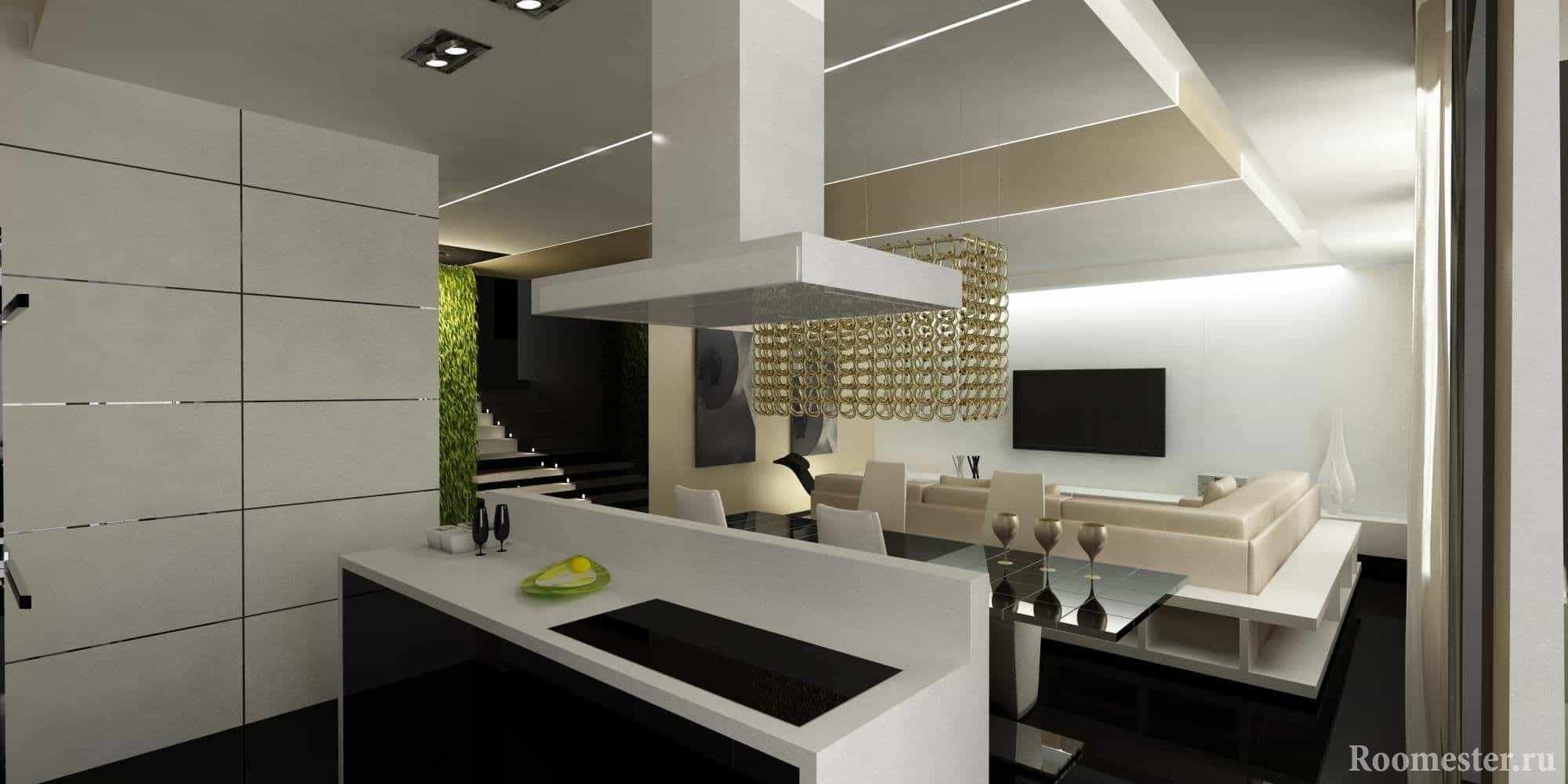 Зонирование кухни и зала с помощью острова