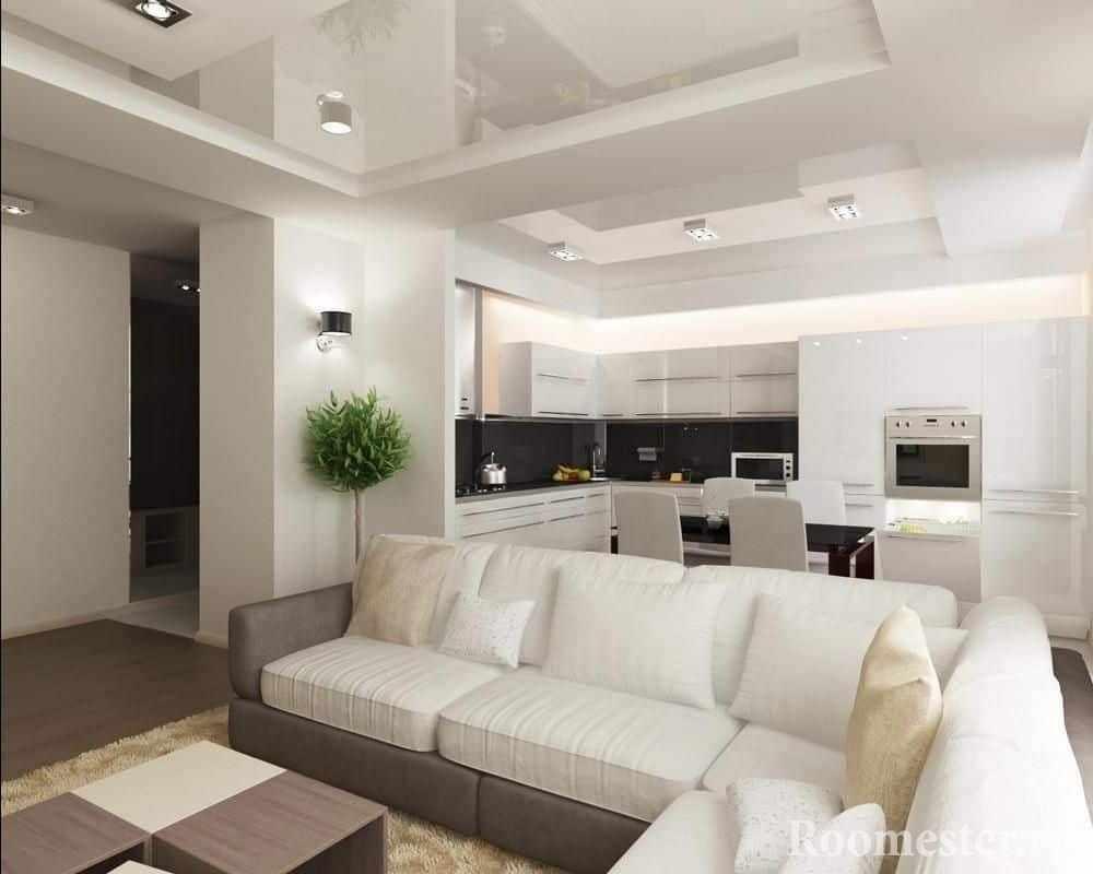 Белоснежная кухня совмещенная с залом