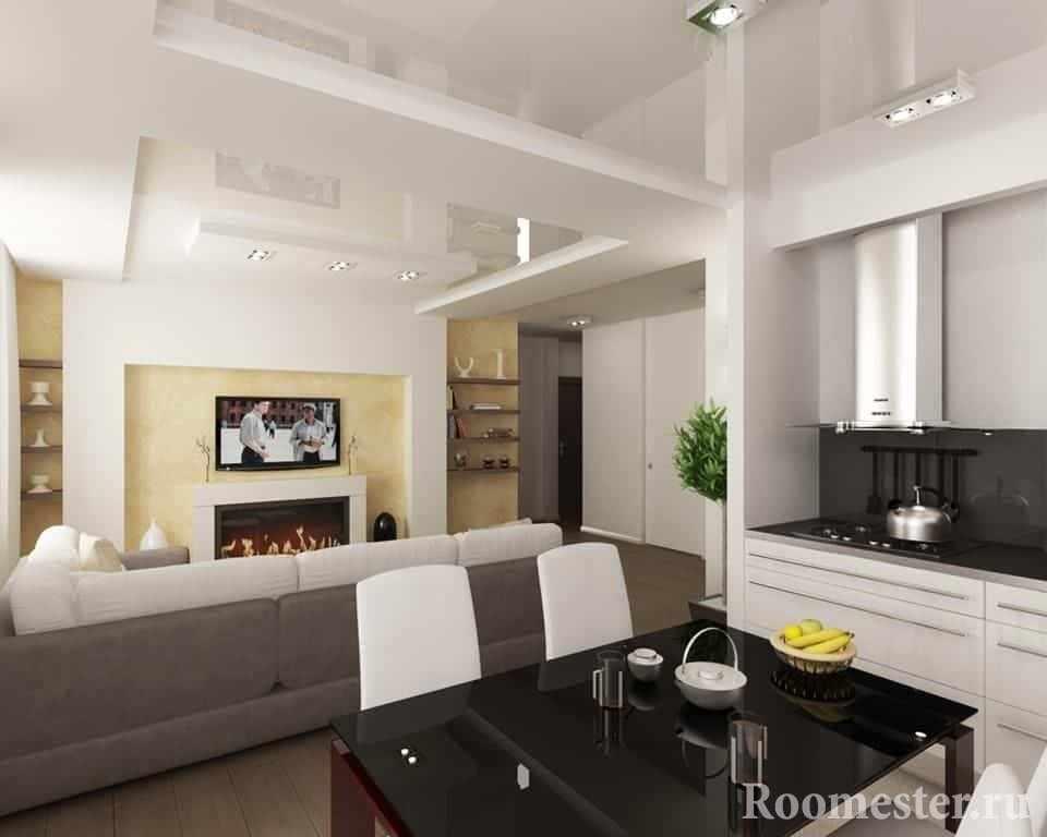Зонирование кухни от зала с помощью гипсокартонных конструкций и визуальных эффектов на потолке