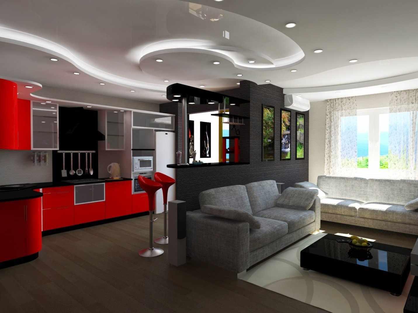 Дизайн кухни-студии с многоуровневым потолком
