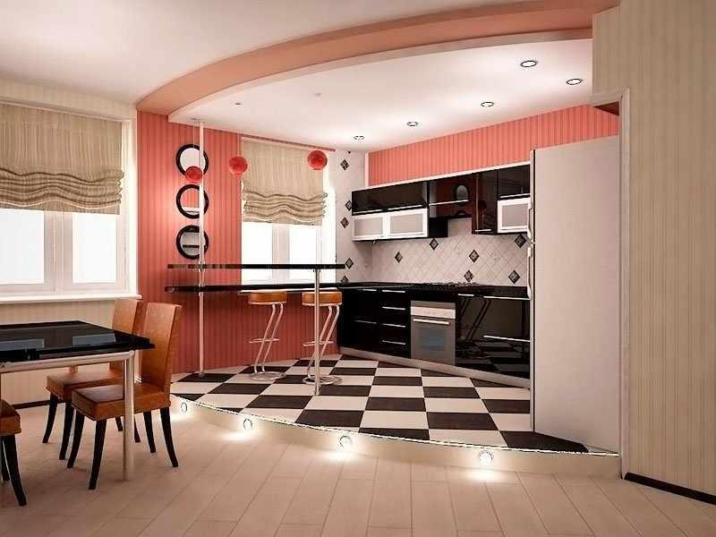 Разные типы напольного покрытия в кухне-студии
