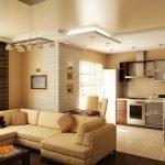 Картины с подсветкой на стенах кухни-студии