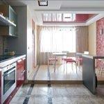 Пол с разным уровнем на кухне-студии
