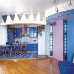 Синий цвет в интерьере кухни-студии