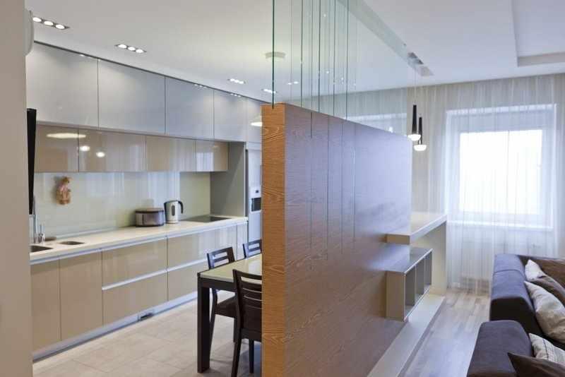 Перегородка в интерьер кухни-студии