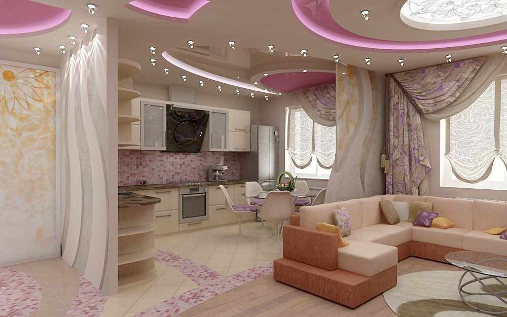 Современный потолок в интерьере кухни-студии
