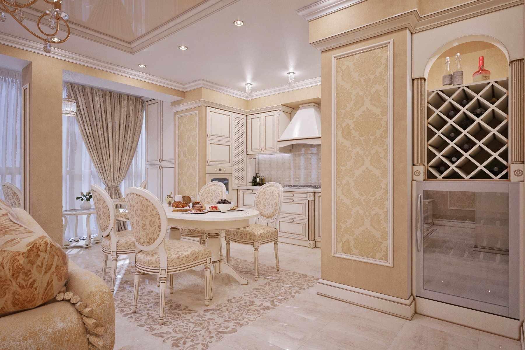 Кухня студия в классическом стиле