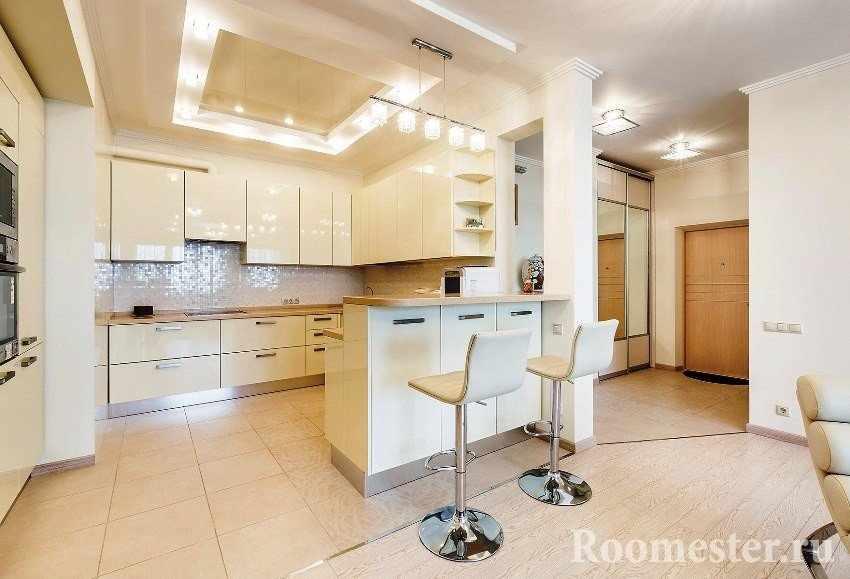 Кухня в одной комнате с гостиной