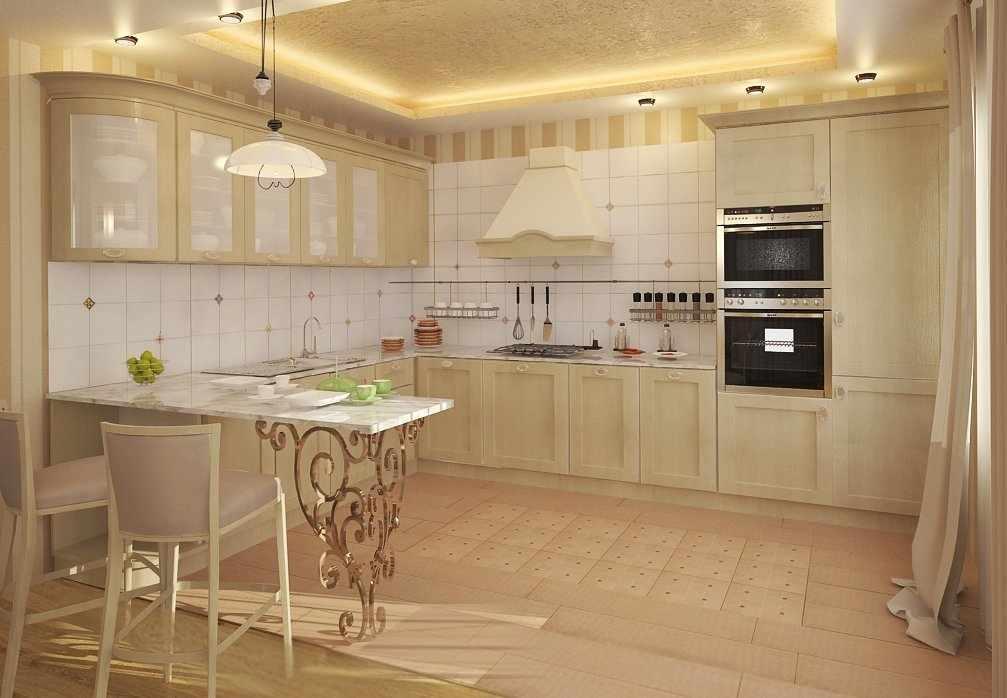 Многоуровневый потолок с подсветкой на кухне