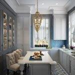 Сочетание голубых стен и белой мебели