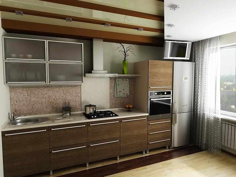 Прямая планировка кухни в доме