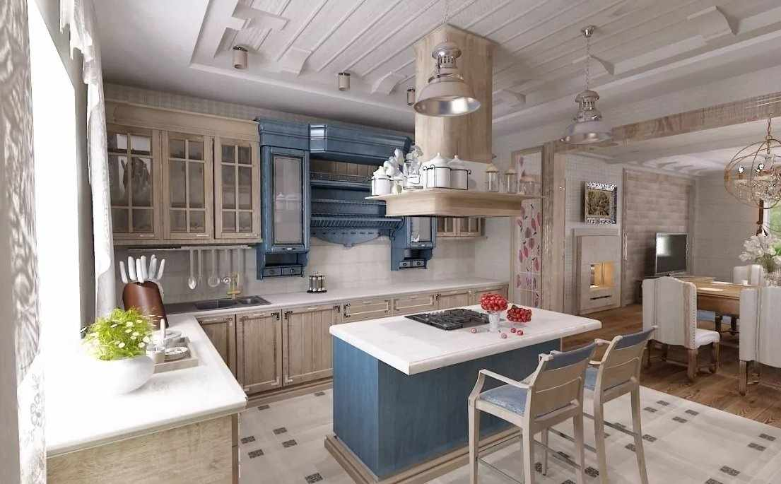 Кухня в стиле прованс в доме