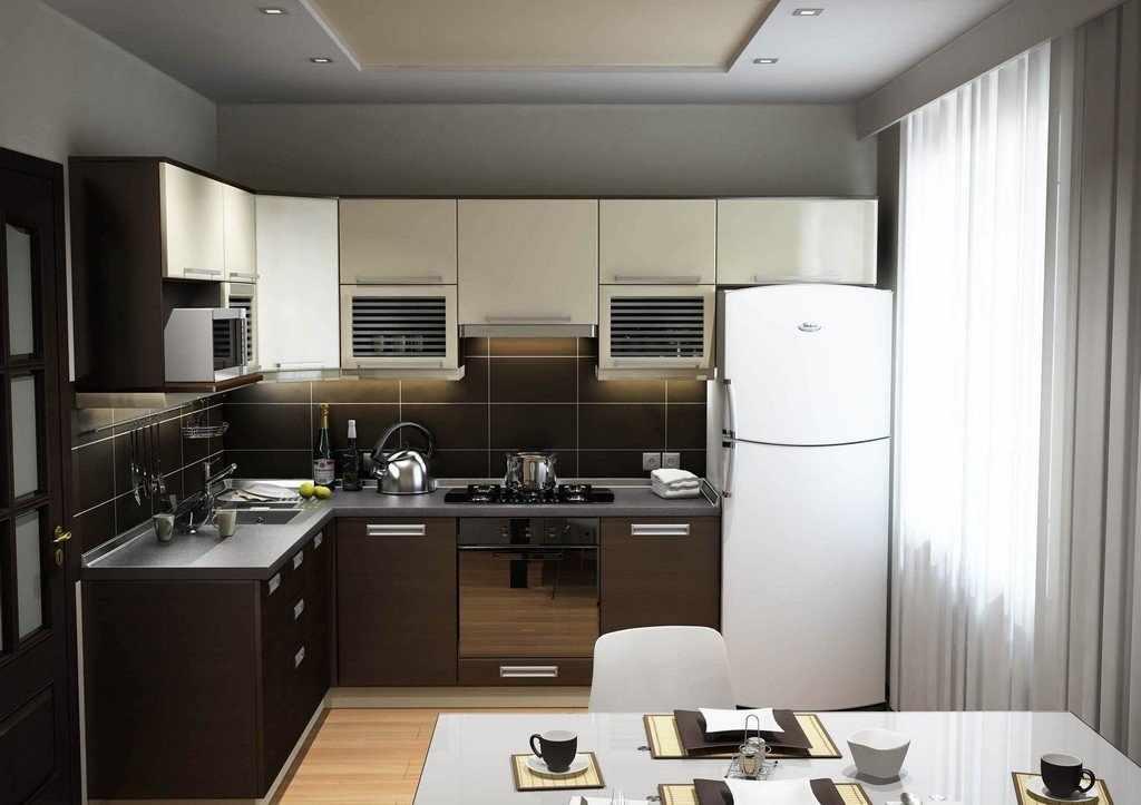 кухонная мебель со встроенных холодильником