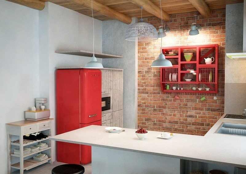 Интерьер с ярким холодильником