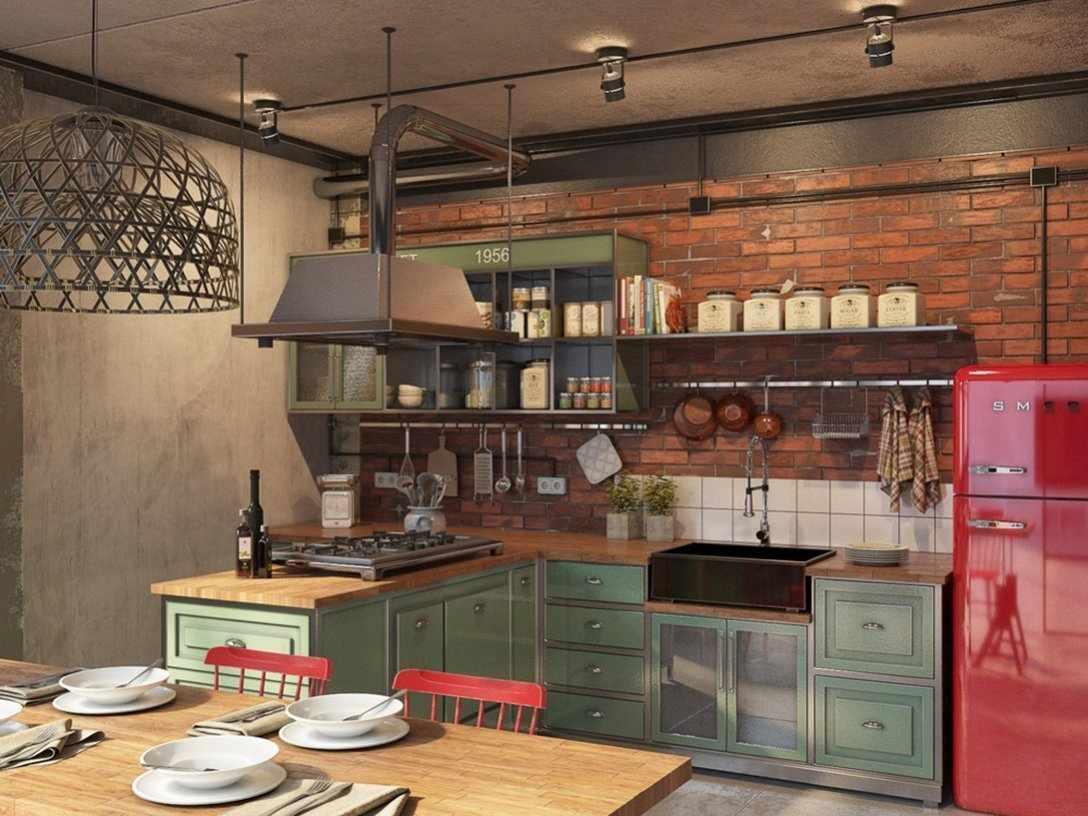 Сочетание зеленой мебели и малинового холодильника