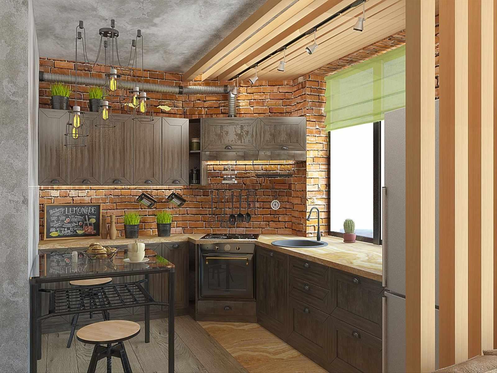 Дерево в интерьере кухни в стиле лофт