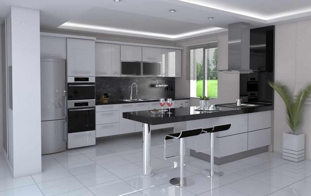 П-образная кухня в одном стиле