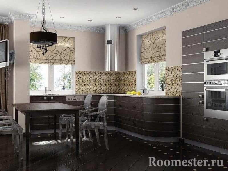 Сочетание фасадов кухни венге со светлым интерьером