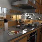 Интерьер кухни с зеркальным фартуком